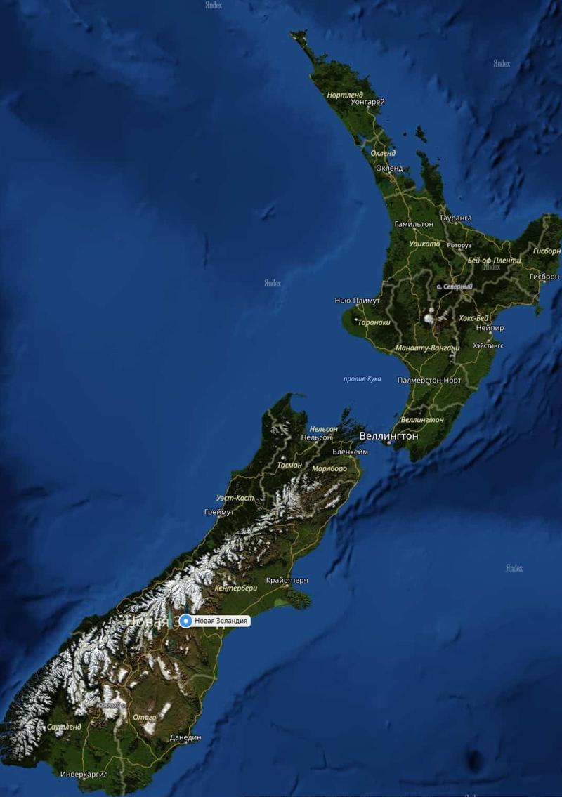 Новая Зеландия карта