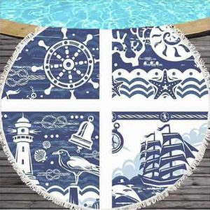 круглое пляжное полотенце морское