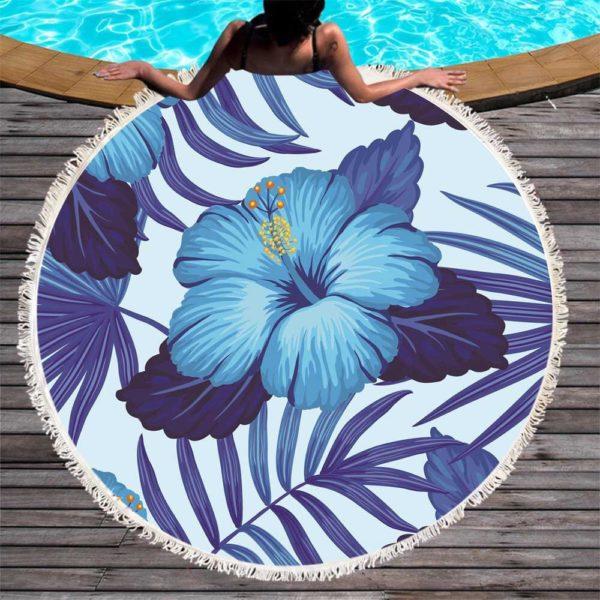 круглое пляжное полотенце цветок